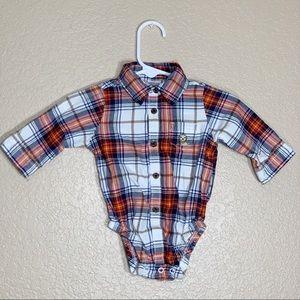 Carters baby boy plaid long sleeve onesie